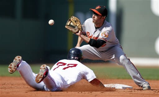 Baltimore Orioles' J.J. Hardy, top, catches Boston Red Sox's Pedro Ciriaco (77) trying to steal second base in the third inning of a baseball game in Boston, Saturday, Sept. 22, 2012. (AP Photo/Michael Dwyer)