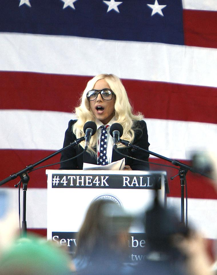 """Lady Gaga traded in her meat dress for a more conservative look on Monday while speaking at a rally in Portland, Maine, urging the state's two senators to help repeal the controversial """"don't ask, don't tell"""" policy, which prevents gays from openly serving in the military. Gaga, who introduced herself by her legal name, Stefani Joanne Angelina Germanotta, ended her speech with a chant: """"Repeal don't ask, don't tell ... Or, go home! Go home! Go home!"""" Kevin Morris/<a href=""""http://www.infdaily.com"""" target=""""new"""">INFDaily.com</a> - September 20, 2010"""