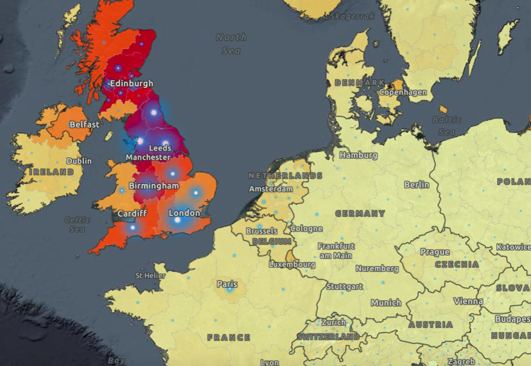 Many of the top COVID hotspots in Europe are in the UK. (WHO)