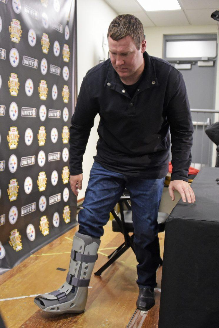 Ben Roethlisberger sported a boot after his Steelers defeated the Dolphins on Sunday. (AP)