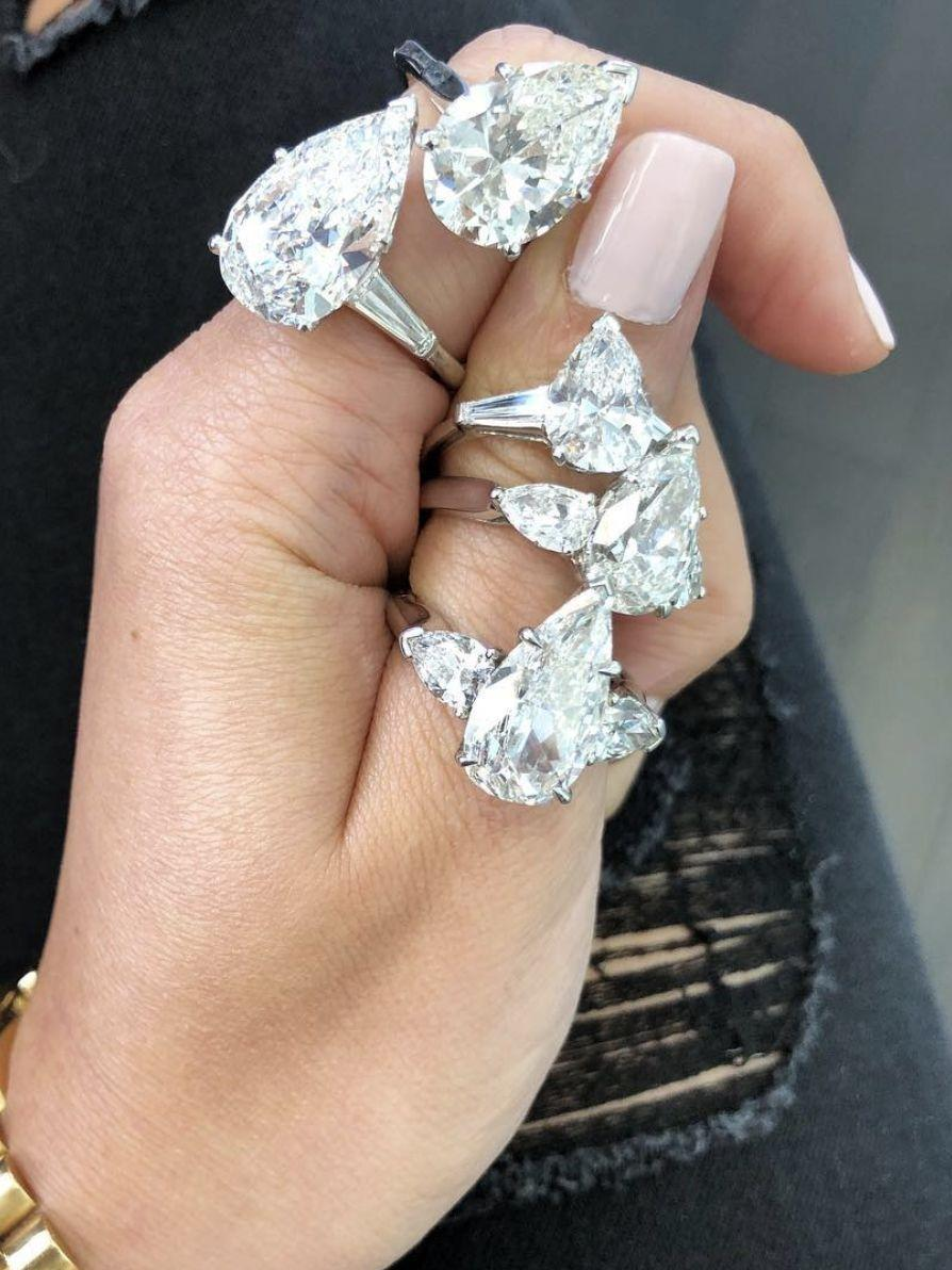 the best wedding bands for pear-shaped engagement rings