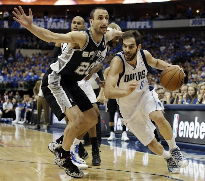 San Antonio Spurs' Manu Ginobili (20), of Argentina, defends against a drive to the basket by Dallas Mavericks' Jose Calderon, of Spain, in the first half of Game 6 of an NBA basketball first-round playoff series on Friday, May 2, 2014, in Dallas. (AP Photo/Tony Gutierrez)