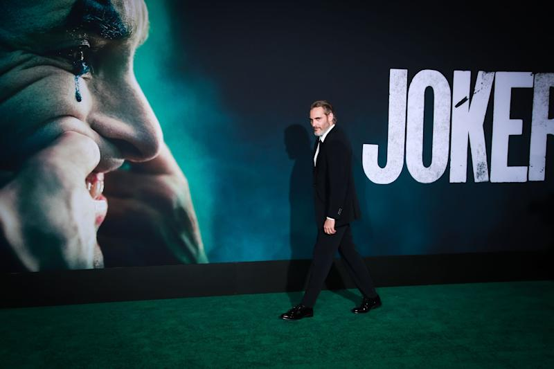 """Joaquin Phoenix makes an appearance on the green carpet, during the premiere of a film he featured in titled """"Joker"""""""
