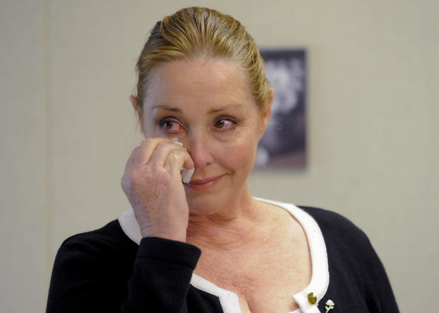 Debra Tate, sister of actress Sharon Tate, reacts after convicted mass murderer Charles Manson was denied parole at his 12th parole hearing in 2012. (GUS RUELAS / Reuters)