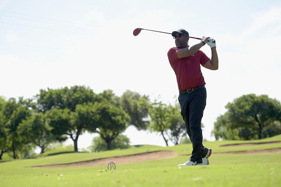 <p>Darius Rucker participates in the ACM Lifting Lives Celebrity Golf Classic during the 50th Academy of Country Music Awards at Brookhaven Country Club in April 2015.</p>
