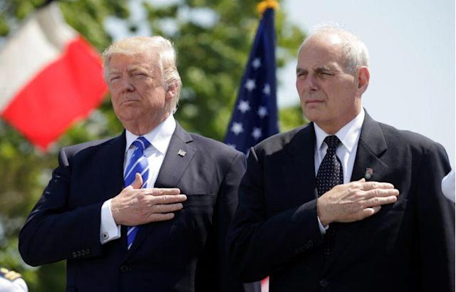 President Trump with then-Department of Homeland Security Secretary John Kelly atthe Coast Guard Academy commencement in New London, Conn., May 17, 2017. (Photo: Kevin Lamarque/Reuters)