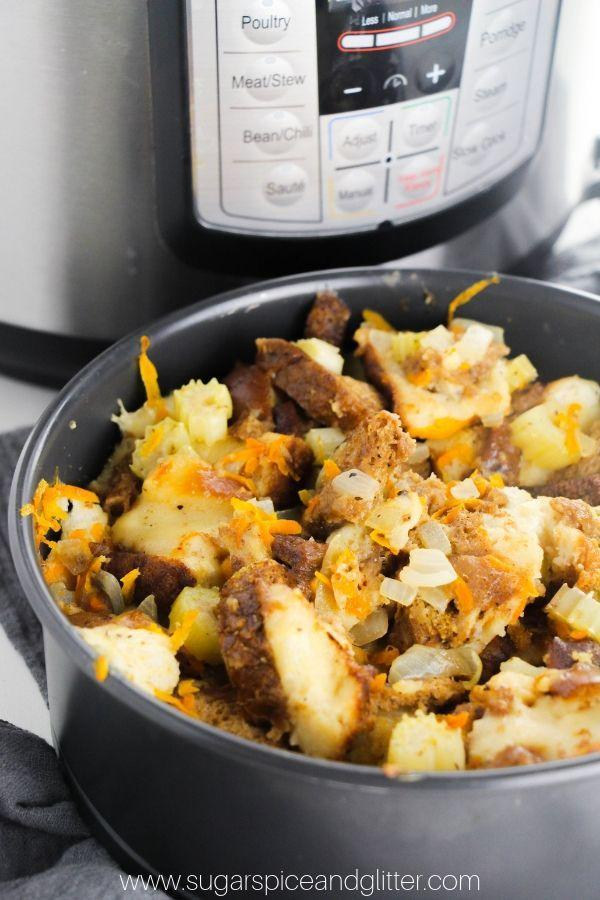 """<p>How could we forget the all-essential <a href=""""https://www.goodhousekeeping.com/holidays/thanksgiving-ideas/g1355/turkey-stuffing-recipes/"""" rel=""""nofollow noopener"""" target=""""_blank"""" data-ylk=""""slk:turkey stuffing"""" class=""""link rapid-noclick-resp"""">turkey stuffing</a>? This one combines sautéed veggies and cubed bread for a truly irresistible holiday side dish.</p><p><em><a href=""""https://sugarspiceandglitter.com/instant-pot-stuffing/"""" rel=""""nofollow noopener"""" target=""""_blank"""" data-ylk=""""slk:Get the recipe from Sugar, Spice and Glitter »"""" class=""""link rapid-noclick-resp"""">Get the recipe from Sugar, Spice and Glitter »</a></em></p>"""