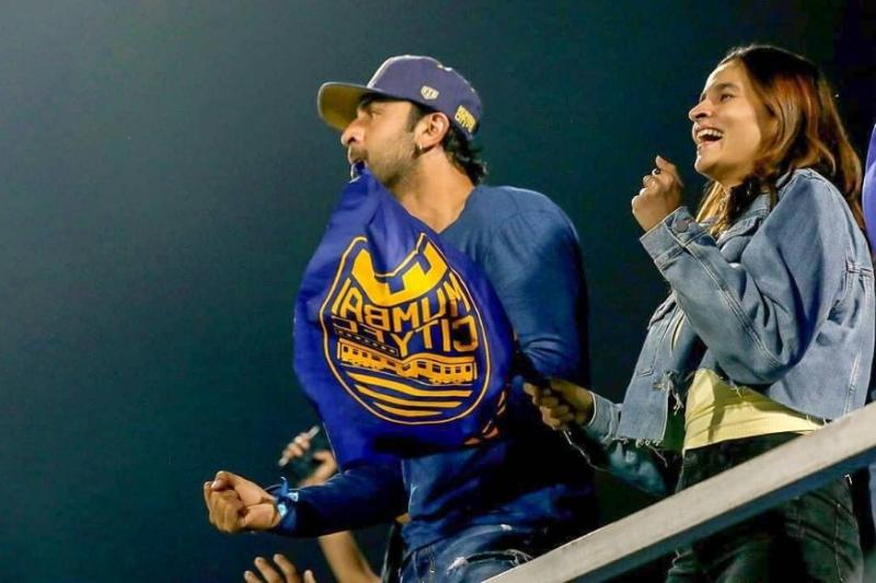 Alia Bhatt Joins Ranbir Kapoor in the Stands at Football Match