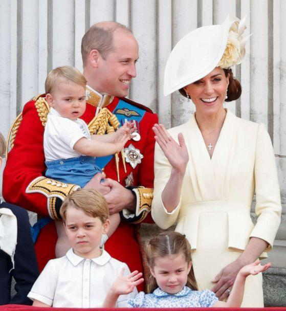 PHOTO: Prince William, Duke of Cambridge, Catherine, Duchess of Cambridge, Prince Louis, Prince George and Princess Charlotte stand on the balcony of Buckingham Palace for Trooping The Colour, the Queen's annual birthday parade, June 8, 2019, in London. (Max Mumby/Indigo via Getty Images, FILE)