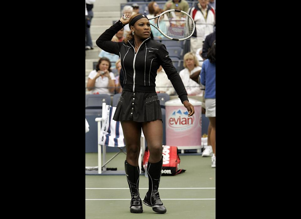 Walking in her big black boots at the 2004 U.S. Open.