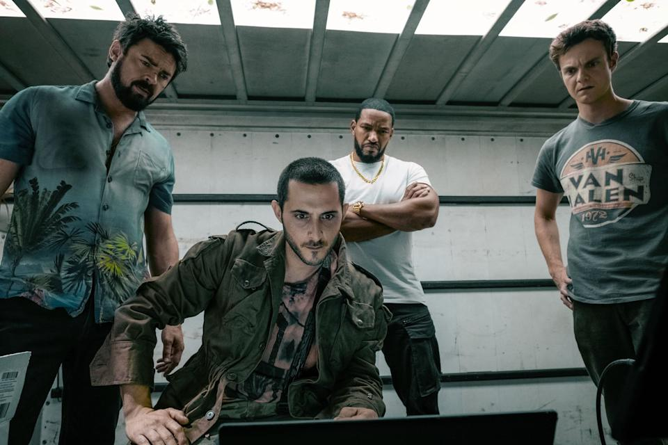 THE BOYS, from left: Karl Urban, Tomer Capon, Laz Alonso, Jack Quaid, 'Get Some', (Season 1, ep. 103, aired July 26, 2019). photo: Jan Thijs / Amazon / courtesy Everett Collection