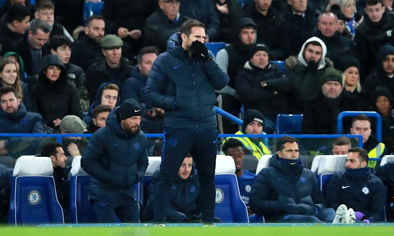 Chelsea manager Frank Lampard reacts during the Premier League match at Stamford Bridge, London. (Photo by Adam Davy/PA Images via Getty Images)