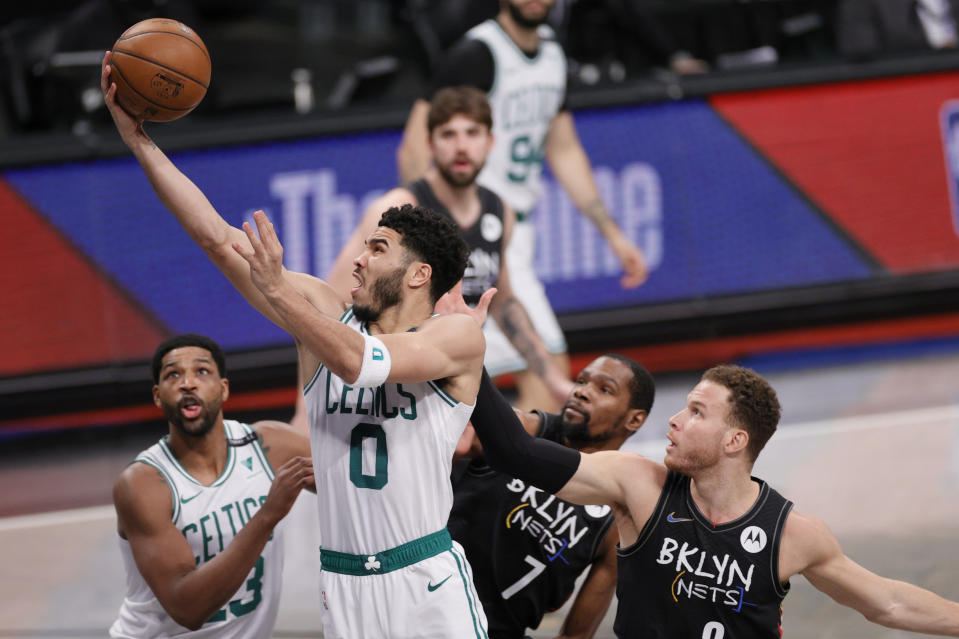 Celtics star Jayson Tatum scored 122 points over the final three games of their series against the Nets. (Sarah Stier/Getty Images)