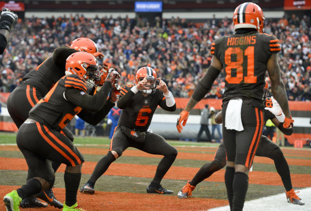 "Quarterback <a class=""link rapid-noclick-resp"" href=""/nfl/players/30971/"" data-ylk=""slk:Baker Mayfield"">Baker Mayfield</a> celebrates with teammates after a touchdown in a sign that the future looks bright in Cleveland. (Photo by: 2018 Nick Cammett/Diamond Images/Getty Images)"
