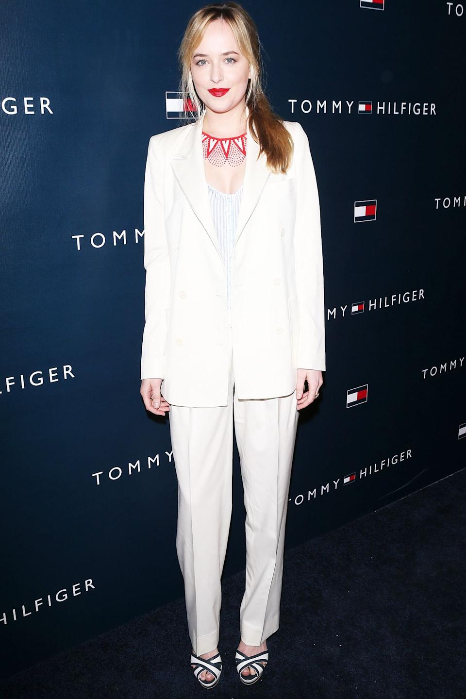 Style Notes: We could dedicate an entire article on Dakota Johnson's love of suits. However, the main takeaways are longline blazers, tapered trousers, and classic hues.