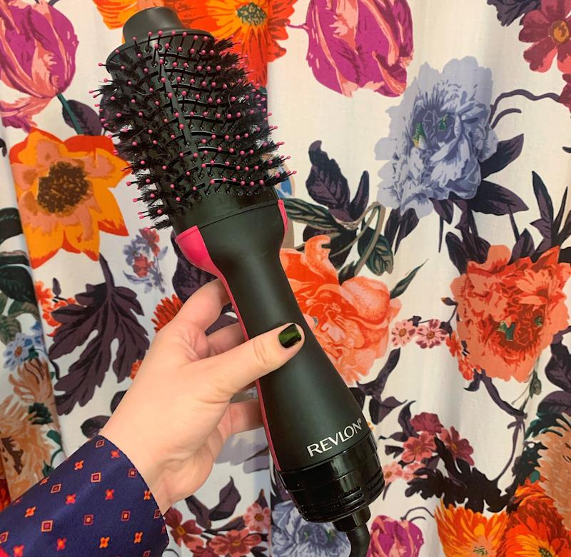Our shopping experts agreed: The Revlon One-Step Volumizing Brush was much bigger in person than expected. The wide-barrel brush is designed to lift and volumize while it dries.  (Photo: Brittany Nims / HuffPost)