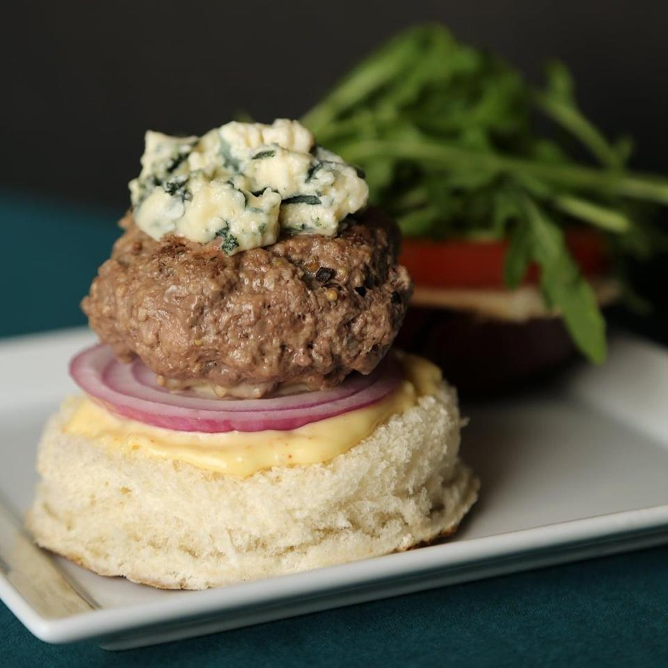 "<p>Take your standard grilled burger to new heights with a quick aioli and plenty of blue cheese crumbles for topping. </p> <p><strong>Get the recipe:</strong> <a href=""https://www.popsugar.com/food/Blue-Cheese-Burger-Recipe-3508220"" class=""link rapid-noclick-resp"" rel=""nofollow noopener"" target=""_blank"" data-ylk=""slk:blue cheese burger"">blue cheese burger</a></p>"