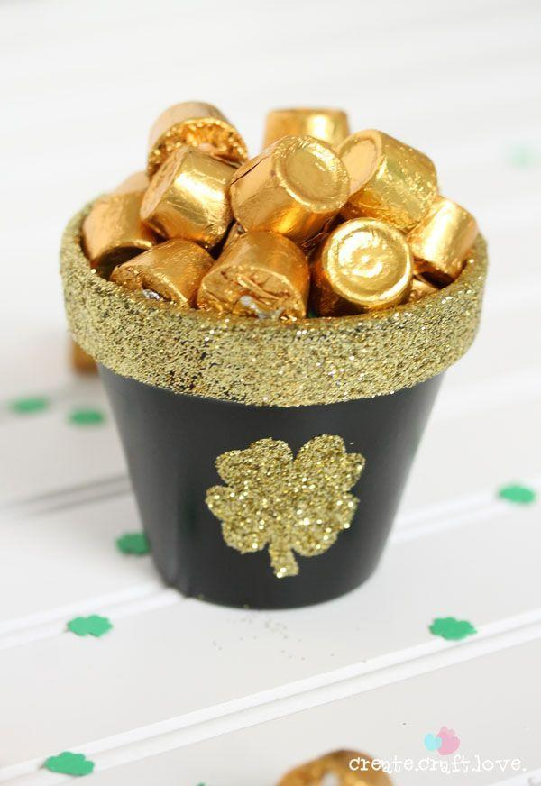 """<p>When painted and filled with gold-wrapped chocolates, a <a href=""""https://www.countryliving.com/diy-crafts/g4124/diy-pretty-flower-pot-ideas/"""" rel=""""nofollow noopener"""" target=""""_blank"""" data-ylk=""""slk:plain terracotta flower pot"""" class=""""link rapid-noclick-resp"""">plain terracotta flower pot</a> becomes a playful St. Patrick's Day decoration. </p><p><strong>Get the tutorial at <a href=""""http://www.the36thavenue.com/st-patricks-day-pot-of-gold/"""" rel=""""nofollow noopener"""" target=""""_blank"""" data-ylk=""""slk:The 36th Avenue"""" class=""""link rapid-noclick-resp"""">The 36th Avenue</a>.</strong></p>"""