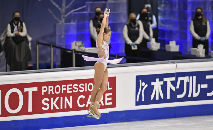 Russian skater Alexandra Trusova performs during the Ladies Short Program at the Figure Skating World Championships in Stockholm, Sweden, Wednesday, March 24, 2021. (AP Photo/Martin Meissner)