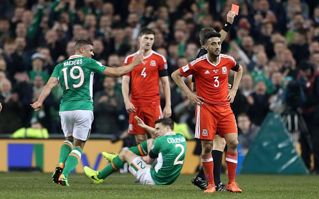<span>Seamus Coleman suffered a double leg break after Neil Taylor's tackle</span> <span>Credit: Rex Features </span>