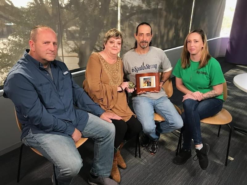 Kristi Richard Russ (second from left) received a heart from Matthew, the 21-year-old late son of Jordan Spahn (second from right). The two families, including Kristi's husband Ron (L) and Spahn's fiancée Summer Mossbarger (R), united to hear Matthew's heart with a stethoscope. Source: Courtesy of Jordan Spahn