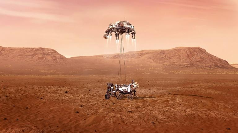 The vehicle will deploy a supersonic parachute the size of a Little League field, before firing up an eight-engined jetpack to slow its descent even further, and then eventually lower the rover carefully to the ground on a set of cables