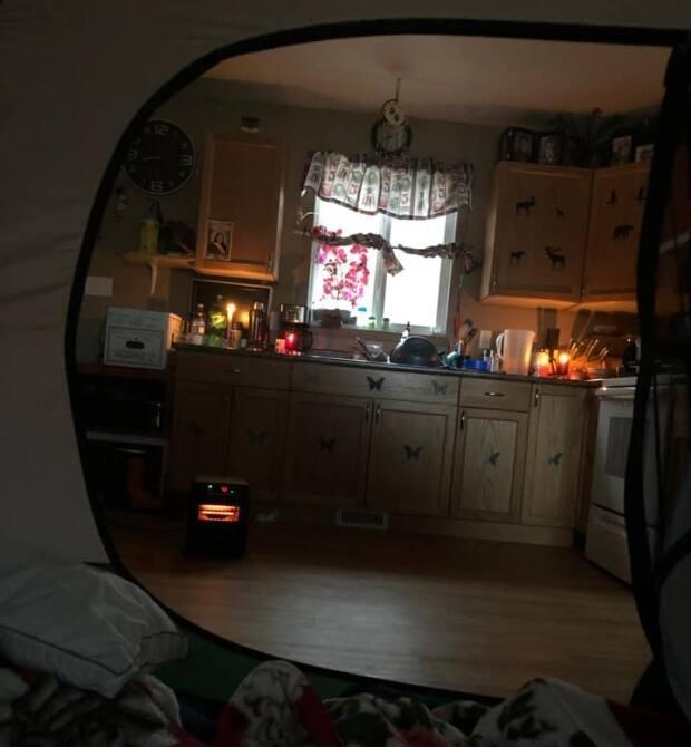 Pictures of people's homes including tents, or from the insides of tents, were another common sight on social media through the power outage.
