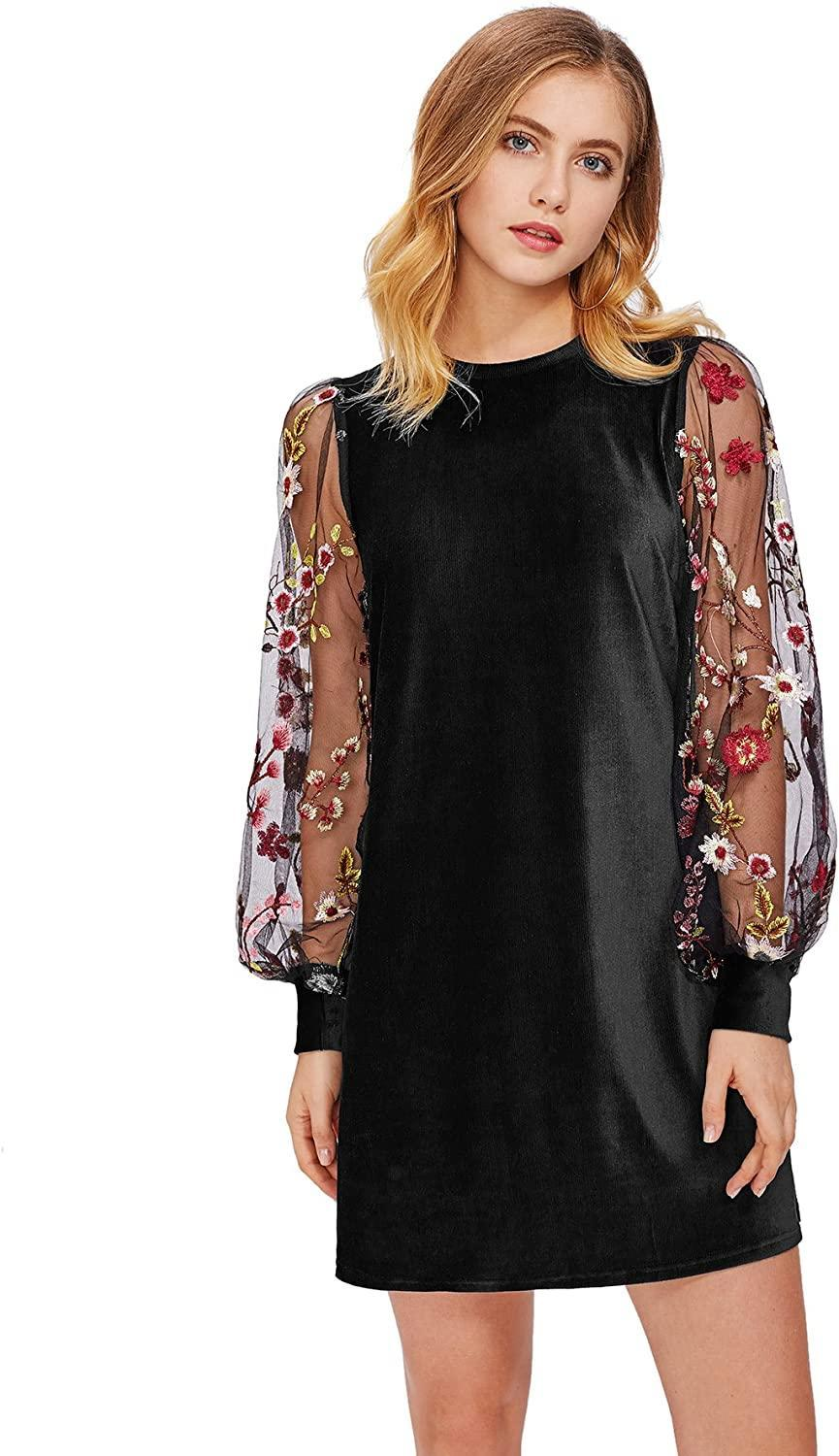 "<br><br><strong>DIDK</strong> Tunic Dress with Embroidered Floral Mesh Bishop Sleeve, $, available at <a href=""https://www.amazon.com/dp/B0773GTTM4/"" rel=""nofollow noopener"" target=""_blank"" data-ylk=""slk:Amazon"" class=""link rapid-noclick-resp"">Amazon</a>"
