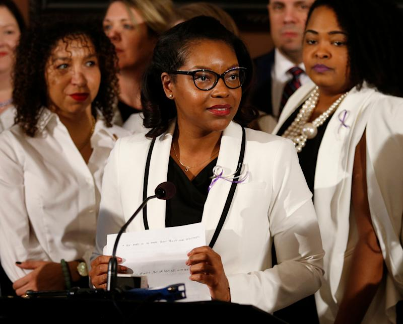 Ohio House minority leader Emilia Sykes, pictured here in March 2019, is among a group of Democrats in the state who proposed a resolution to declare racism a public health crisis. (Photo: AP Photo/Paul Vernon,)