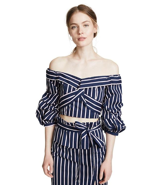 "<p>Navy striped blouse, $78, <a href=""https://www.shopbop.com/navy-stripe-blouse-joa/vp/v=1/1571168803.htm?folderID=45675&fm=other-shopbysize-viewall&os=false&colorId=13497"" rel=""nofollow noopener"" target=""_blank"" data-ylk=""slk:shopbop.com"" class=""link rapid-noclick-resp"">shopbop.com</a> </p>"