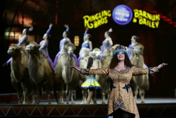 """Ringling Bros. and Barnum & Bailey Ringmaster Kristen Michelle Wilson performs Saturday, Jan. 14, 2017, in Orlando, Fla. The Ringling Bros. and Barnum & Bailey Circus will end the """"The Greatest Show on Earth"""" in May, following a 146-year run of performances. Kenneth Feld, the chairman and CEO of Feld Entertainment, which owns the circus, told The Associated Press. Declining attendance combined with high operating costs are among the reasons for closing. (AP Photo/Chris O'Meara)"""