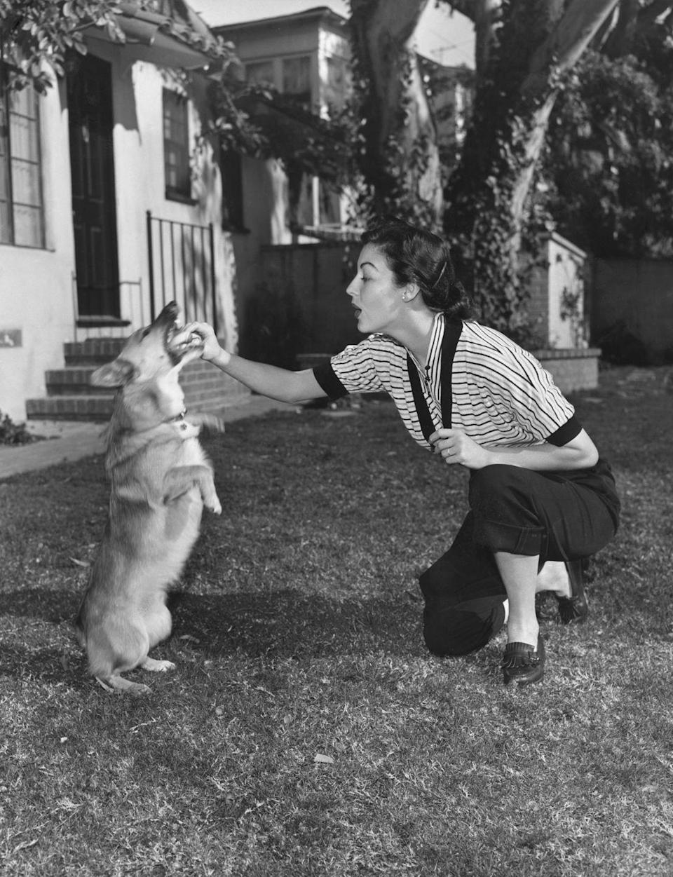 """<p>Ava Gardner's beloved Corgi, Rags, was a gift to the film star by her third husband, Frank Sinatra. Rags served as Ava's introduction to the breed and <a href=""""http://thedailycorgi.com/2015/04/famous-corgi-fans-ava-gardner.html"""" rel=""""nofollow noopener"""" target=""""_blank"""" data-ylk=""""slk:she continued to own Corgis"""" class=""""link rapid-noclick-resp"""">she continued to own Corgis</a> for the rest of her life. </p>"""