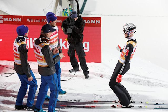 FIS Ski Jumping World Cup - Men's HS134 - Oslo, Norway - March 10, 2018. Team Norway celebrates the victory. NTB Scanpix/Terje Bendiksby via REUTERS ATTENTION EDITORS - THIS IMAGE WAS PROVIDED BY A THIRD PARTY. NORWAY OUT. NO COMMERCIAL OR EDITORIAL SALES IN NORWAY.