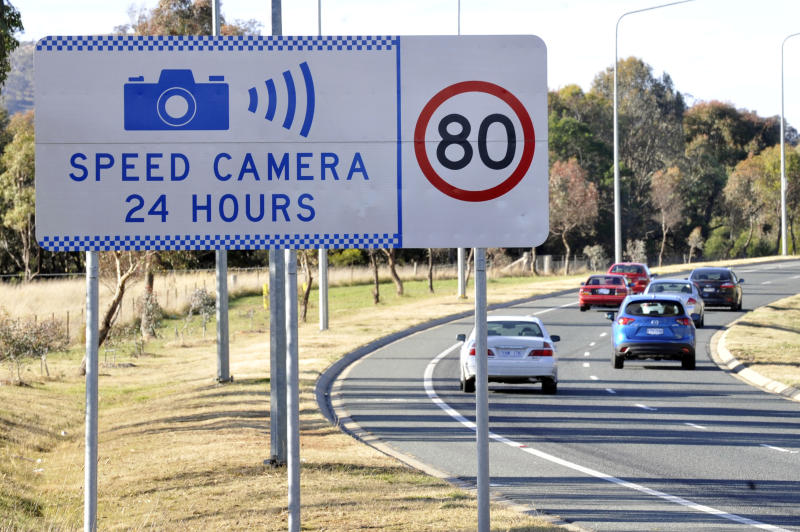 A speed camera sign warning in Canberra.