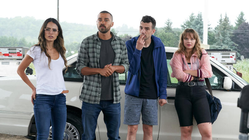 Jordana Brewster, Jesse Williams, Jay Baruchel and Niamh Wilson in 'Random Acts of Violence'. (Credit: Shudder)