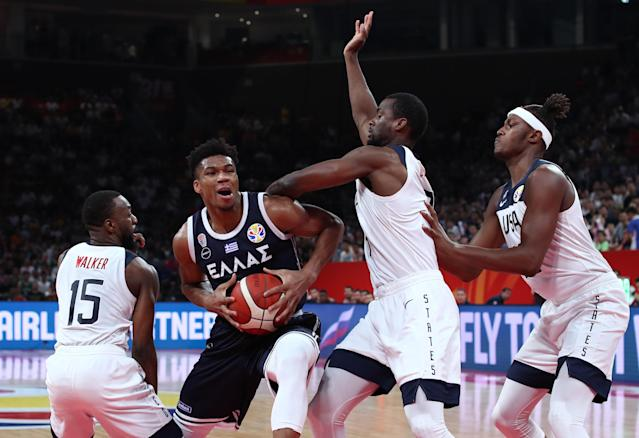Team USA beat Greece on Saturday, but the two sides did not leave the court on the best of terms. (REUTERS/Athit Perawongmetha)