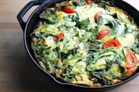 <p>An easy, healthy dinner, you can chuck pretty much anything you like into a frittata, from spinach and tomatoes to spring veg, cheese and ham. An easy one to throw together in three minutes. <i>[Picture: Getty]</i></p>