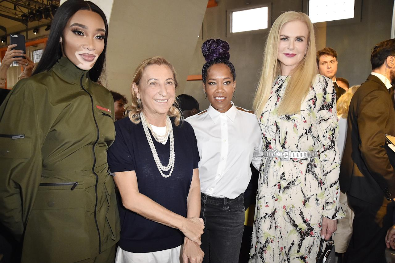 Winnie Harlow, Miuccia Prada, Regina King and Nicole Kidman attend Prada Spring/Summer 2020 Womenswear Fashion Show on September 18, 2019 in Milan, Italy. Photo courtesy of Getty Images.