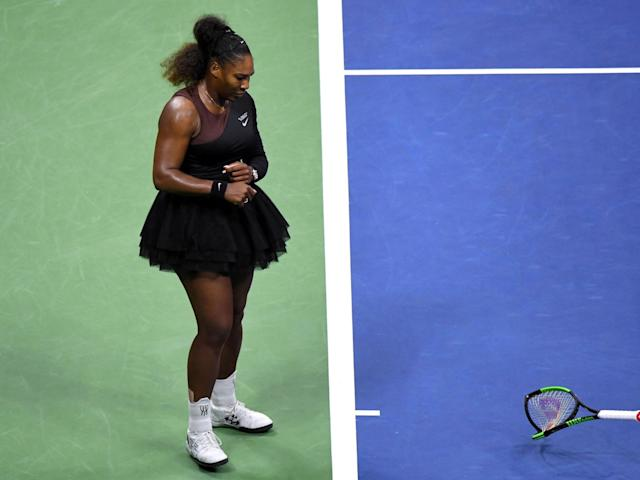 Williams smashed her racket on the court, earning her a second code violation