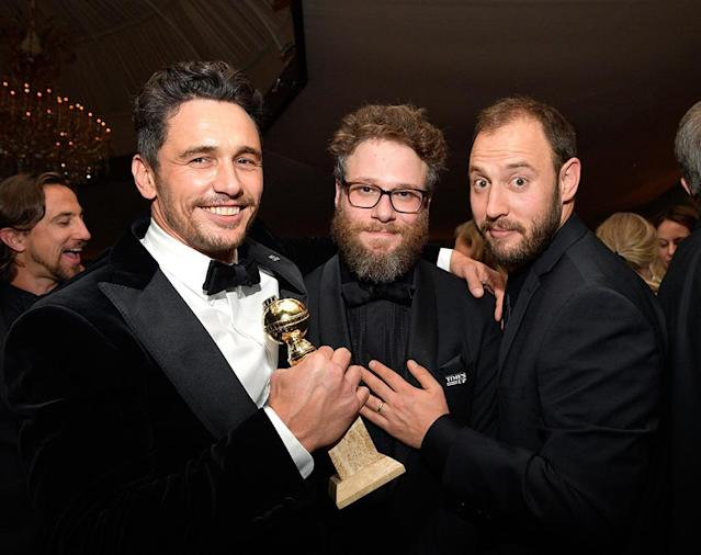 <p>James Franco, Seth Rogen, and screenwriter Evan Goldberg attend the 2018 InStyle and Warner Bros. party at the Beverly Hilton Hotel. (Photo: Matt Winkelmeyer/Getty Images for InStyle) </p>