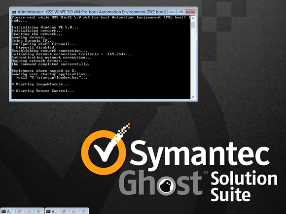 Company ad for Symantec Ghost solution suite, including a small simulation of how the program works.