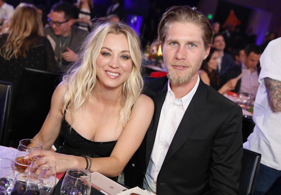 Kaley Cuoco and Karl Cook, pictured in March, were married, by her sister, in an equestrian-themed wedding in front of some of her <em>Big Bang Theory</em> co-stars over the weekend. (Photo: Rachel Murray/Getty Images for Netflix)