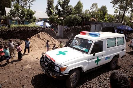 FILE PHOTO: An ambulance waits next to a health clinic to transport a suspected Ebola patient in Goma
