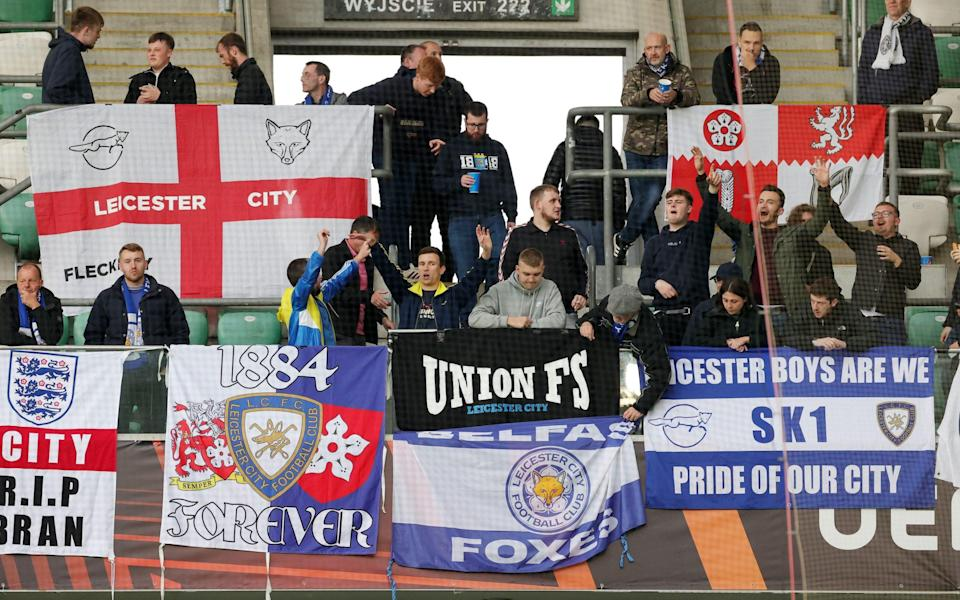 Leicester City fans at Wojska Polskiego Stadium ahead of the UEFA Europa League group C match between Legia Warszawa and Leicester City at Wojska Polskiego Stadium on September 30, 2021 in Warsaw, Poland - Plumb Images/Leicester City FC via Getty Images