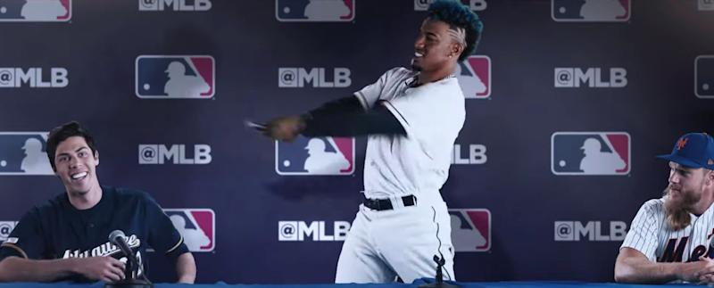 "Francisco Lindor, Christian Yelich and Noah Syndergaard are among the players in MLB's new ""Let the Kids Play 2.0"" ad. (MLB)"