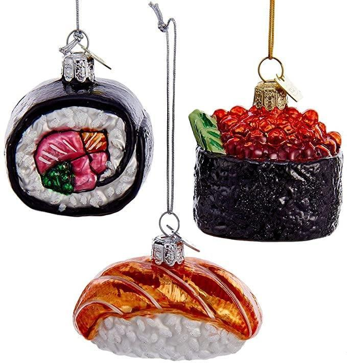 <p>These <span>Assorted Sushi Roll Glass Ornaments</span> ($27, originally $33) are stunning!</p>