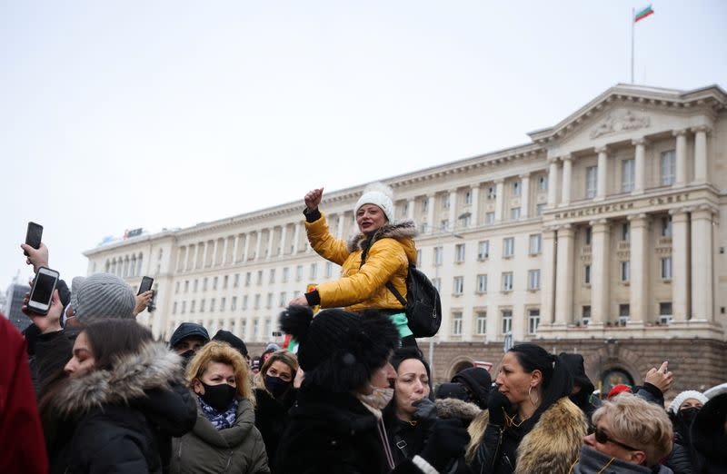 Restaurant, bar and club owners and employees take part in a protest in Sofia
