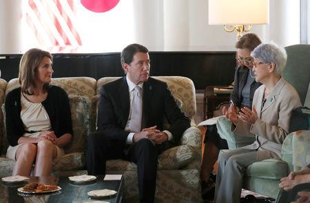 Sakie Yokota (R), mother of Megumi Yokota who was abducted by North Korea agents at age 13 in 1977, meets U.S. ambassador to Japan William Hagerty and his wife Chrissy in Tokyo, Japan, April 10, 2018. REUTERS/Kim Kyung-Hoon