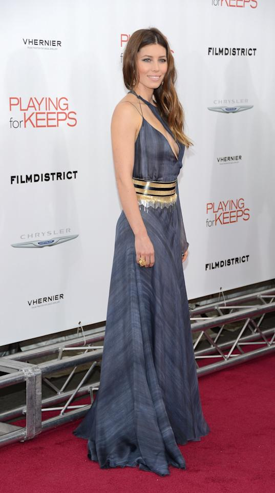 """NEW YORK, NY - DECEMBER 05:  Actress Jessica Biel attends Film District and Chrysler with the Cinema Society Premiere of """"Playing For Keeps"""" at AMC Lincoln Square Theater on December 5, 2012 in New York City.  (Photo by Andrew H. Walker/Getty Images)"""