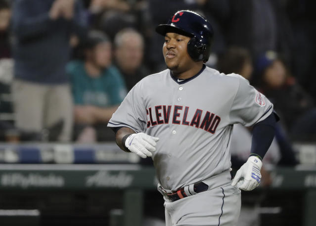 Cleveland Indians Jose Ramirez rounds the bases after hitting a solo home run during the third inning of a baseball game against the Seattle Mariners, Monday, April 15, 2019, in Seattle. (AP Photo/Ted S. Warren)